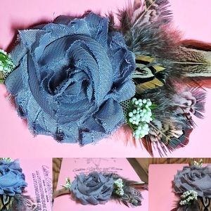 Other - Pewter Gray Chiffon and Feather Infant Headband